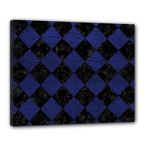 Square2 Black Marble & Blue Leather Canvas 20  X 16  (stretched) by trendistuff