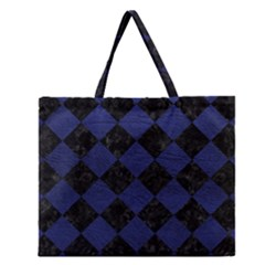 Square2 Black Marble & Blue Leather Zipper Large Tote Bag by trendistuff