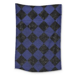 Square2 Black Marble & Blue Leather Large Tapestry