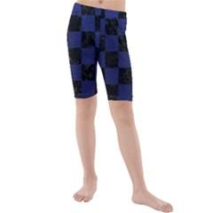 SQR1 BK-MRBL BL-LTHR Kids  Mid Length Swim Shorts by trendistuff