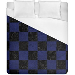 Square1 Black Marble & Blue Leather Duvet Cover (california King Size) by trendistuff