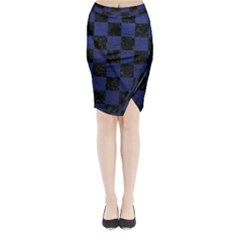 Square1 Black Marble & Blue Leather Midi Wrap Pencil Skirt