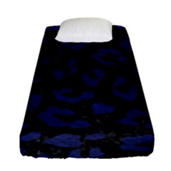 Skin5 Black Marble & Blue Leather (r) Fitted Sheet (single Size) by trendistuff