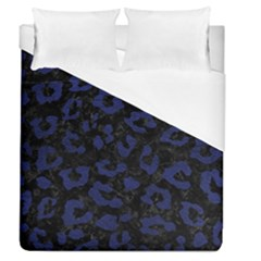 Skin5 Black Marble & Blue Leather (r) Duvet Cover (queen Size) by trendistuff