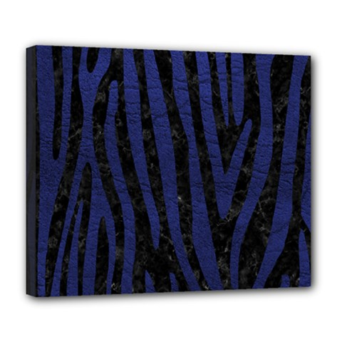 Skin4 Black Marble & Blue Leather (r) Deluxe Canvas 24  X 20  (stretched) by trendistuff