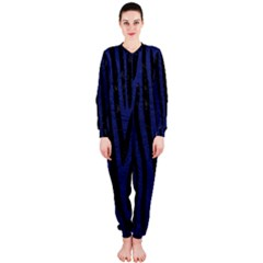Skin4 Black Marble & Blue Leather Onepiece Jumpsuit (ladies) by trendistuff