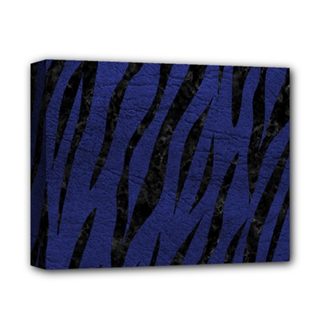 Skin3 Black Marble & Blue Leather (r) Deluxe Canvas 14  X 11  (stretched) by trendistuff