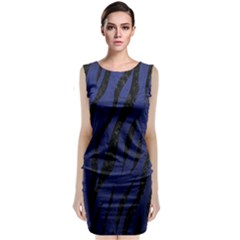 Skin3 Black Marble & Blue Leather (r) Classic Sleeveless Midi Dress by trendistuff