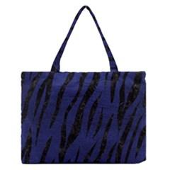 Skin3 Black Marble & Blue Leather (r) Medium Zipper Tote Bag by trendistuff