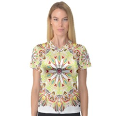 Intricate Flower Star Women s V Neck Sport Mesh Tee