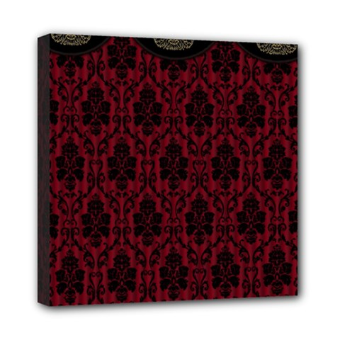 Elegant Black And Red Damask Antique Vintage Victorian Lace Style Mini Canvas 8  X 8