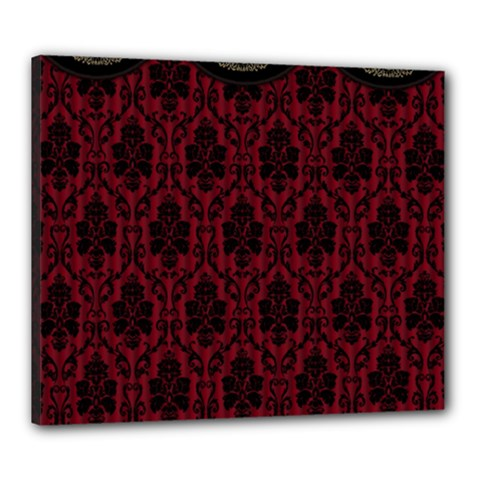 Elegant Black And Red Damask Antique Vintage Victorian Lace Style Canvas 24  X 20