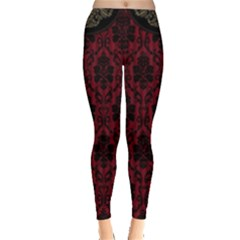 Elegant Black And Red Damask Antique Vintage Victorian Lace Style Leggings