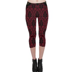 Elegant Black And Red Damask Antique Vintage Victorian Lace Style Capri Leggings  by yoursparklingshop