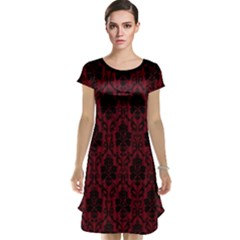 Elegant Black And Red Damask Antique Vintage Victorian Lace Style Cap Sleeve Nightdress