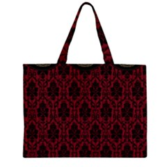 Elegant Black And Red Damask Antique Vintage Victorian Lace Style Zipper Large Tote Bag by yoursparklingshop