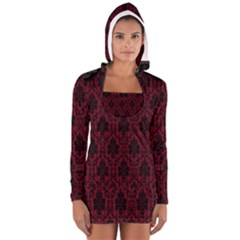 Elegant Black And Red Damask Antique Vintage Victorian Lace Style Women s Long Sleeve Hooded T Shirt