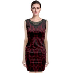 Elegant Black And Red Damask Antique Vintage Victorian Lace Style Classic Sleeveless Midi Dress