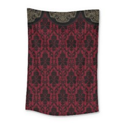 Elegant Black And Red Damask Antique Vintage Victorian Lace Style Small Tapestry