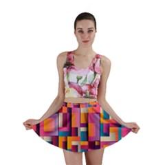 Abstract Background Geometry Blocks Mini Skirt by Simbadda