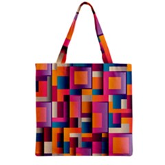 Abstract Background Geometry Blocks Grocery Tote Bag by Simbadda