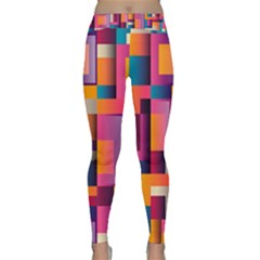 Abstract Background Geometry Blocks Classic Yoga Leggings by Simbadda