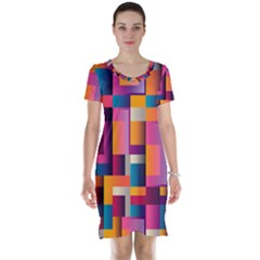 Abstract Background Geometry Blocks Short Sleeve Nightdress by Simbadda