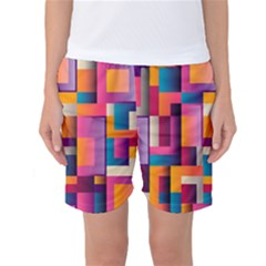 Abstract Background Geometry Blocks Women s Basketball Shorts by Simbadda