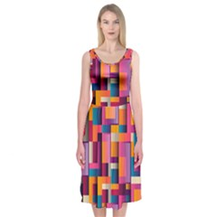 Abstract Background Geometry Blocks Midi Sleeveless Dress by Simbadda