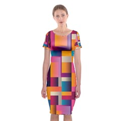 Abstract Background Geometry Blocks Classic Short Sleeve Midi Dress by Simbadda