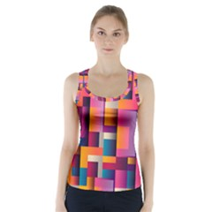 Abstract Background Geometry Blocks Racer Back Sports Top by Simbadda
