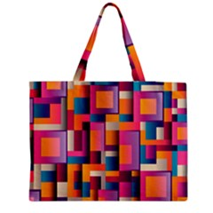 Abstract Background Geometry Blocks Medium Zipper Tote Bag by Simbadda