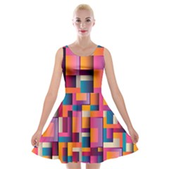 Abstract Background Geometry Blocks Velvet Skater Dress by Simbadda