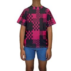 Cube Square Block Shape Creative Kids  Short Sleeve Swimwear by Simbadda