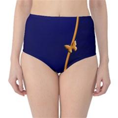 Greeting Card Invitation Blue High Waist Bikini Bottoms by Simbadda