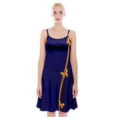 Greeting Card Invitation Blue Spaghetti Strap Velvet Dress by Simbadda