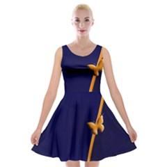 Greeting Card Invitation Blue Velvet Skater Dress by Simbadda