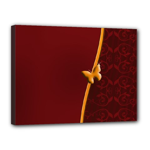 Greeting Card Invitation Red Canvas 16  X 12  by Simbadda