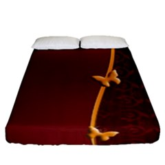 Greeting Card Invitation Red Fitted Sheet (queen Size) by Simbadda