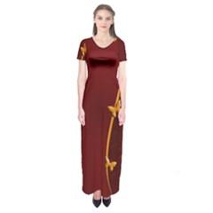 Greeting Card Invitation Red Short Sleeve Maxi Dress by Simbadda