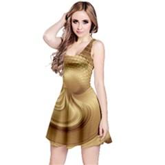 Gold Background Texture Pattern Reversible Sleeveless Dress by Simbadda
