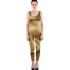 Gold Background Texture Pattern Onepiece Catsuit by Simbadda