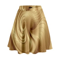 Gold Background Texture Pattern High Waist Skirt by Simbadda