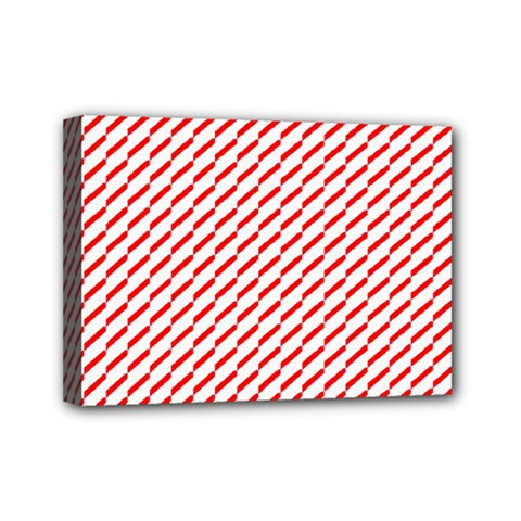 Pattern Red White Background Mini Canvas 7  X 5  by Simbadda