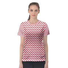 Pattern Red White Background Women s Sport Mesh Tee by Simbadda