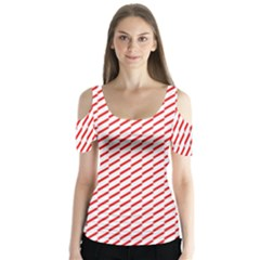 Pattern Red White Background Butterfly Sleeve Cutout Tee  by Simbadda