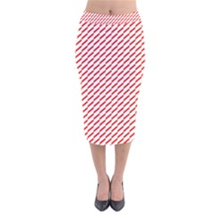Pattern Red White Background Velvet Midi Pencil Skirt by Simbadda