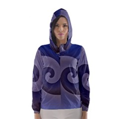 Logo Wave Design Abstract Hooded Wind Breaker (women) by Simbadda