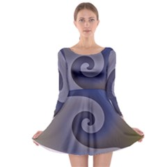 Logo Wave Design Abstract Long Sleeve Skater Dress by Simbadda