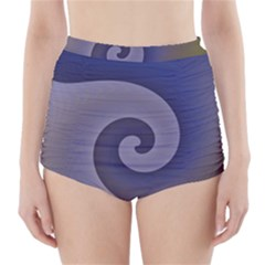 Logo Wave Design Abstract High Waisted Bikini Bottoms by Simbadda